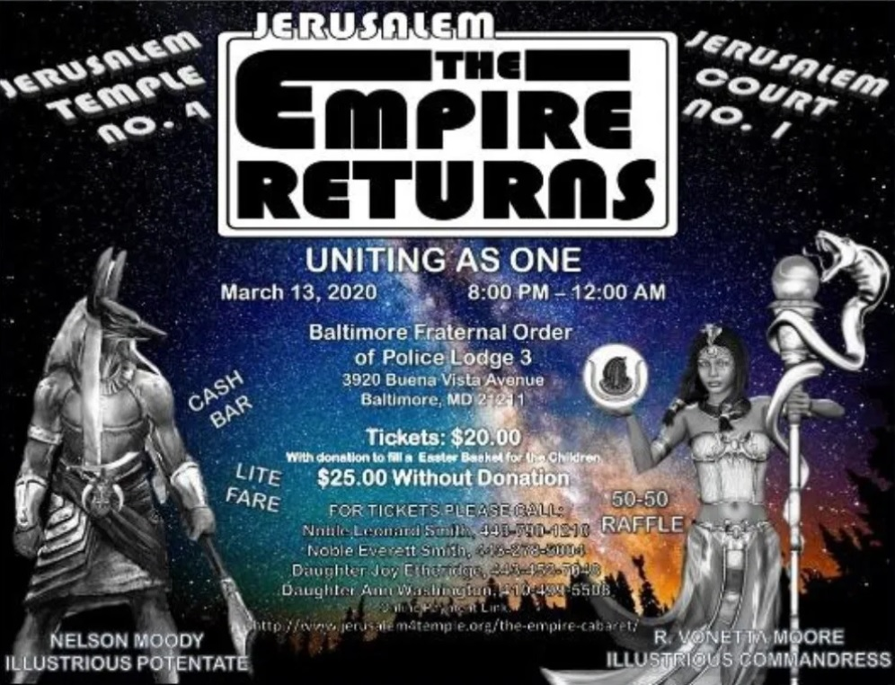 Jerusalem Joint Cabaret (The Empire Returns - March 13, 2020) Baltimore, MD